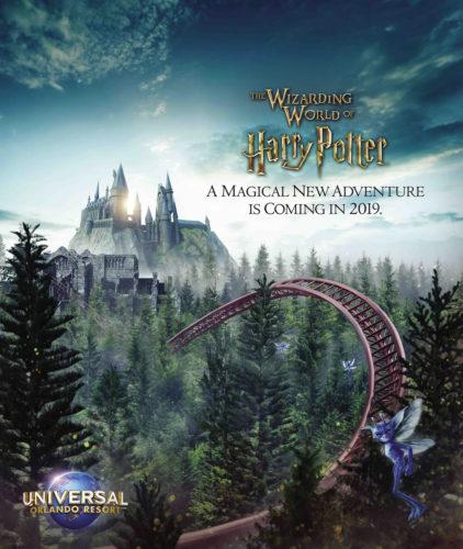 Artwork de la nueva montaña rusa de Harry Potter.